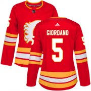 Wholesale Cheap Adidas Flames #5 Mark Giordano Red Alternate Authentic Women's Stitched NHL Jersey