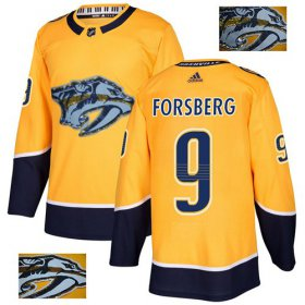 Wholesale Cheap Adidas Predators #9 Filip Forsberg Yellow Home Authentic Fashion Gold Stitched NHL Jersey