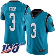 Wholesale Cheap Nike Panthers #3 Will Grier Blue Youth Stitched NFL Limited Rush 100th Season Jersey