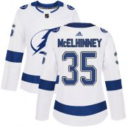 Cheap Adidas Lightning #35 Curtis McElhinney White Road Authentic Women's Stitched NHL Jersey