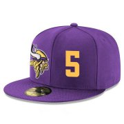 Wholesale Cheap Minnesota Vikings #5 Teddy Bridgewater Snapback Cap NFL Player Purple with Gold Number Stitched Hat