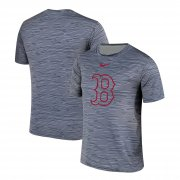Wholesale Cheap Nike Boston Red Sox Gray Black Striped Logo Performance T-Shirt