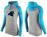 Wholesale Cheap Women's Nike Carolina Panthers Performance Hoodie Grey & Light Blue_2