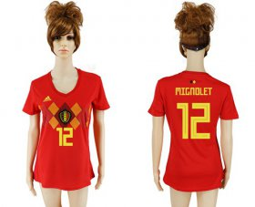 Wholesale Cheap Women\'s Belgium #12 Mignolet Red Home Soccer Country Jersey