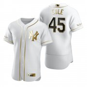 Wholesale Cheap New York Yankees #45 Gerrit Cole White Nike Men's Authentic Golden Edition MLB Jersey