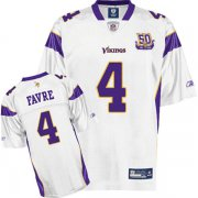 Wholesale Cheap Vikings #4 Brett Favre White Team 50TH Patch Stitched NFL Jersey