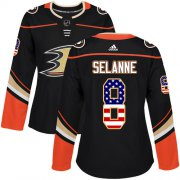 Wholesale Cheap Adidas Ducks #8 Teemu Selanne Black Home Authentic USA Flag Women's Stitched NHL Jersey