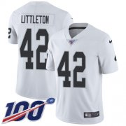 Wholesale Cheap Nike Raiders #42 Cory Littleton White Youth Stitched NFL 100th Season Vapor Untouchable Limited Jersey