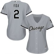 Wholesale Cheap White Sox #2 Nellie Fox Grey Road Women's Stitched MLB Jersey