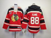 Wholesale Cheap Blackhawks #88 Patrick Kane Red Sawyer Hooded Sweatshirt Stitched Youth NHL Jersey