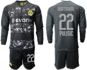 Wholesale Cheap Dortmund #22 Pulisic Away Long Sleeves Soccer Club Jersey