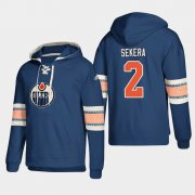 Wholesale Cheap Edmonton Oilers #2 Andrej Sekera Royal adidas Lace-Up Pullover Hoodie
