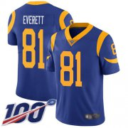 Wholesale Cheap Nike Rams #81 Gerald Everett Royal Blue Alternate Men's Stitched NFL 100th Season Vapor Limited Jersey