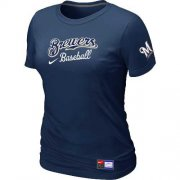 Wholesale Cheap Women's Milwaukee Brewers Nike Short Sleeve Practice MLB T-Shirt Midnight Blue