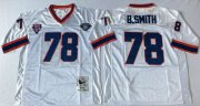 Wholesale Cheap Mitchell And Ness Bills #78 Bruce Smith White Throwback Stitched NFL Jersey