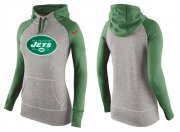 Wholesale Cheap Women's Nike New York Jets Performance Hoodie Grey & Green_2
