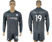 Wholesale Cheap Chelsea #19 Diego Costa Sec Away Long Sleeves Soccer Club Jersey