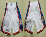 Wholesale Cheap Men's Oklahoma City Thunder White 2017-2018 Nike Swingman Stitched NBA Shorts