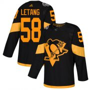 Wholesale Cheap Adidas Penguins #58 Kris Letang Black Authentic 2019 Stadium Series Stitched Youth NHL Jersey