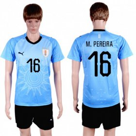 Wholesale Cheap Uruguay #16 M.Pereira Home Soccer Country Jersey