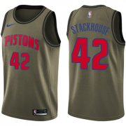 Wholesale Cheap Nike Pistons #42 Jerry Stackhouse Green Salute to Service NBA Swingman Jersey