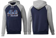 Wholesale Cheap New York Mets Pullover Hoodie Dark Blue & Grey
