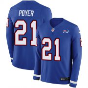 Wholesale Cheap Nike Bills #21 Jordan Poyer Royal Blue Team Color Men's Stitched NFL Limited Therma Long Sleeve Jersey