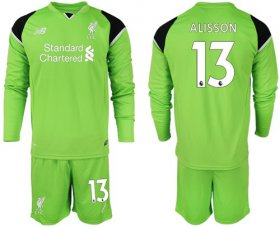 Wholesale Cheap Liverpool #13 Alisson Green Goalkeeper Long Sleeves Soccer Club Jersey