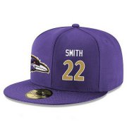 Wholesale Cheap Baltimore Ravens #22 Jimmy Smith Snapback Cap NFL Player Purple with Gold Number Stitched Hat