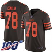 Wholesale Cheap Nike Browns #78 Jack Conklin Brown Youth Stitched NFL Limited Rush 100th Season Jersey