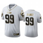 Wholesale Cheap Los Angeles Rams #99 Aaron Donald Men's Nike White Golden Edition Vapor Limited NFL 100 Jersey