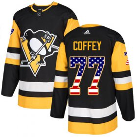Wholesale Cheap Adidas Penguins #77 Paul Coffey Black Home Authentic USA Flag Stitched NHL Jersey