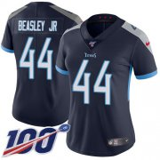 Wholesale Cheap Nike Titans #44 Vic Beasley Jr Navy Blue Team Color Women's Stitched NFL 100th Season Vapor Untouchable Limited Jersey