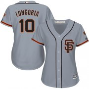 Wholesale Cheap Giants #10 Evan Longoria Grey Road 2 Women's Stitched MLB Jersey
