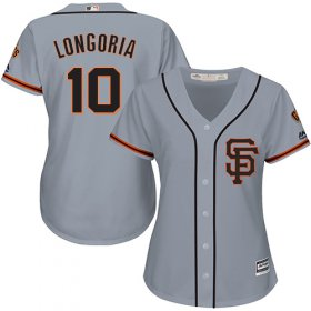 Wholesale Cheap Giants #10 Evan Longoria Grey Road 2 Women\'s Stitched MLB Jersey