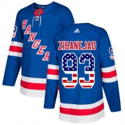 Wholesale Cheap Adidas Rangers #93 Mika Zibanejad Royal Blue Home Authentic USA Flag Stitched Youth NHL Jersey