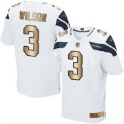 Wholesale Cheap Nike Seahawks #3 Russell Wilson White Men's Stitched NFL Elite Gold Jersey