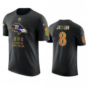Wholesale Cheap Ravens #8 Lamar Jackson Black Men's Black History Month T-Shirt