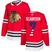 Wholesale Cheap Adidas Blackhawks #7 Brent Seabrook Red Home Authentic USA Flag Stitched Youth NHL Jersey