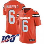 Wholesale Cheap Nike Browns #6 Baker Mayfield Orange Alternate Men's Stitched NFL 100th Season Vapor Limited Jersey