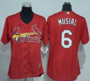 Wholesale Cheap Cardinals #6 Stan Musial Red Women's Alternate Stitched MLB Jersey
