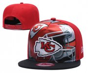 Wholesale Cheap Chiefs Team Logo Red Black Adjustable Leather Hat TX