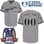Wholesale Cheap Brewers Personalized Authentic Grey Cool Base w/40th Anniversary Patch MLB Jersey (S-3XL)