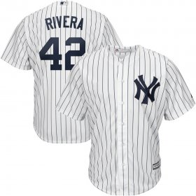 Wholesale Cheap New York Yankees #42 Mariano Rivera Majestic Home 2019 Hall of Fame Cool Base Player Jersey White Navy