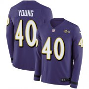 Wholesale Cheap Nike Ravens #40 Kenny Young Purple Team Color Men's Stitched NFL Limited Therma Long Sleeve Jersey