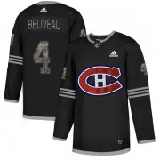 Wholesale Cheap Adidas Canadiens #4 Jean Beliveau Black Authentic Classic Stitched NHL Jersey