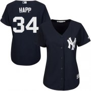 Wholesale Cheap Yankees #34 J.A. Happ Navy Blue Alternate Women's Stitched MLB Jersey