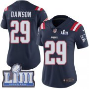 Wholesale Cheap Nike Patriots #29 Duke Dawson Navy Blue Super Bowl LIII Bound Women's Stitched NFL Limited Rush Jersey