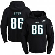 Wholesale Cheap Nike Eagles #86 Zach Ertz Black Name & Number Pullover NFL Hoodie