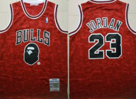 Wholesale Cheap Bulls Bape 23 Michael Jordan Red 1997-98 Hardwood Classics Jersey